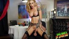 "Beautiful horny lonely SARAH JESSIE dines on waiter ERIC JOHN's 9"" cock - duration"