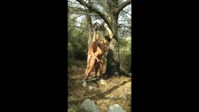 Military Daddy Ties Up, Tortures and Fucks Army Son Outdoors in Woods