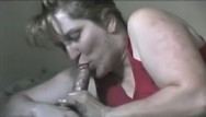 Facial beauty equipment that removes make-up Beautiful milf oils up his cock and takes a load on her face