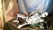 Gay fantasy art tribe Fantasy scene where spandex skeleton wrestles and humps frogman