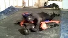 black spandex man humps spiderman and frogman