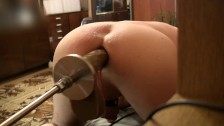 Sex Machine is fuck my Ass, three dildo, Doggy Style