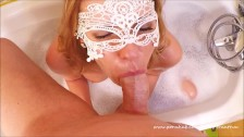 Awesome Amateur Sloppy Deepthroat Blowjob in the Bath and Messy Facial POV