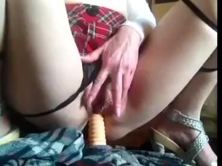 Horny Milf fucks dildo wet orgasm riding dildo on floor fuck big cock