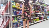 Pregnant upskirt Walmart flashing in a mini dress - upskirt - lydia luxy