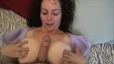 Fat tits slut titfucks with floppy tits