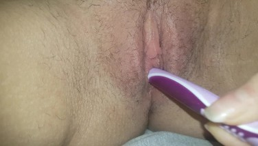 Toothbrush Masturbation | Watch Wet Hairy Pussy in Close Up