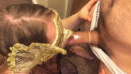 Cheeking condom - Wife gives husband a blowjob with condom