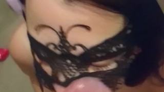 Facefuck and quick footjob