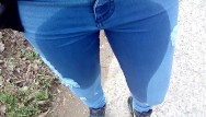 Sexy tight pants or jeans Pee in jeans outdoor