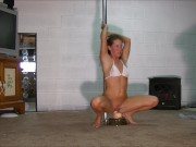 Sexy brunette pole dances and rides dildo as husband jerks off and watches