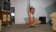 Sexy girls dancinh - Sexy brunette pole dances and rides dildo as husband jerks off and watches