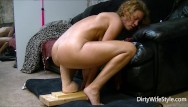 Monster dildo insertion Horny babe rides and fucks a brutal monster dildo to make her pussy happy