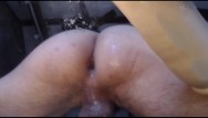 Gaping man holes gay Large dildo makes str8 studs hungry juicy hole drip and gape on glass table