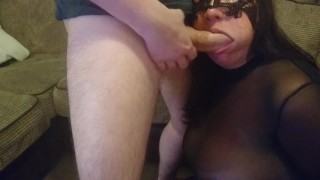 Handcuffed and facefucked. Choking on cock.