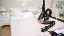 Anisyia Livejasmin Full latex bodysuit extreme high heels