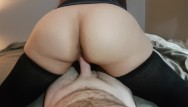 Explosive sperm in pussy - Reverse cowgirl with thigh high socks has explosive orgasm and cum in pussy