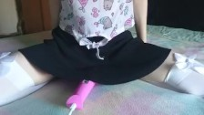 what's under her skirt? | cute teen cums hard, watch her pussy pulsate