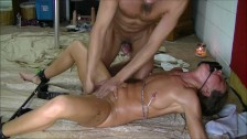 Bound wife gets dildo fucked and fingered to squirt