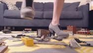 Adult train sets Teen revenge: heels crushing a nerd train set