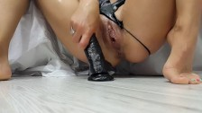 Skinny Bitch takes Huge Black Dildo in Her Pussy and Ass plus Two in Pussy