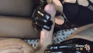 Vintage leather baseball - Handjoy handjob with black leather gloves while showing feet and ass