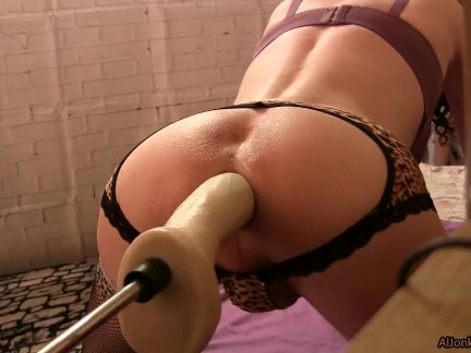 Sissy and Best Anal Dildo, fucking machines, close up
