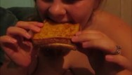 Grilling chicken breast - Amanda fat ass eats 2 grill cheese sandwhichs making her fatter