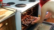 Naked cook video - Naked red head cooks delicious chicken