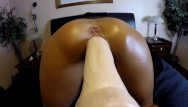 Close up double anal penetration interaccial - Close up- wife doggy style fucking dildo machine anal vibrator- orgasms