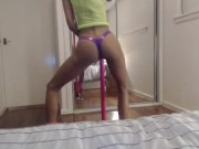 Young Ebony Babe Sheridan's Pole Striptease in Lingerie