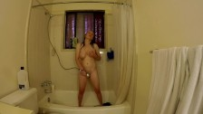 Big Tit Babe Sexy Striptease In The Shower