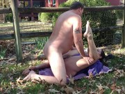 Neighbor's wife gets pussy fucked and filled with cum in her own backyard