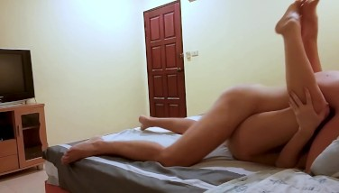 Young Brunette Fit Girl Loves to gets Her Holes Fucked on Bed Legs Up Cum
