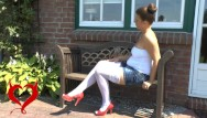 Slave bikini natalie Teeny masturbation on the garden bench