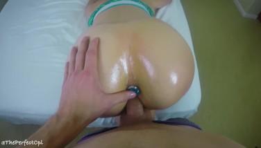 Teen yoga instructor fucks student - Oil butt plug blowjob cumshot