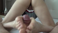 Male legs fetish Teen footjob foot fetish sex with my legs and finally cumshot