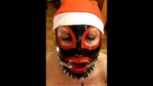 Jingle bells New Year's Eve latex Mrs. Claus ring gag dripping deepthroat