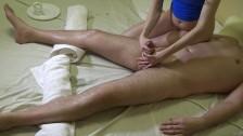 Sexy massage for him & orgasm control with final cumshot on my leg 4k