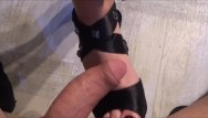 Girls give blowjob Girl loves to give footjob with cum on soles