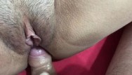 Human head inside of a pussy - Fuck a dirty and hairy pussy, close up with cum inside