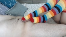 Footjob Colorful Socks Camgirl Catherine Grey