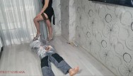 Strict mother spanks Shoejob and facesitting to the bondaged slave by strict wife mia