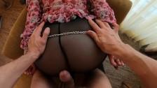 Booty Ass in Stockings Сuffed Fuck Cumshot   Ginger Teen Takes Cum on Ass