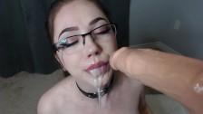 rubia in glasses POV blowjob cumming dildo facial and cum in mouth