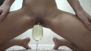 Two women peeing on the floor Pee in wine glass, over floor, pour over body, fuck rabbit and cum