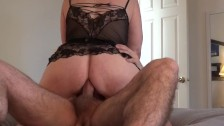 Amateur MILF rides cock in her ass - anal cowgirl creampie - duration