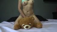 Mika tan fucks her teddy bear - Sweet girl plays fucks and squirts her teddy bear - agatha dolly