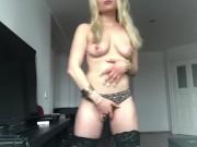 Dazzling German Hottie Gabi Gold Strips Naked