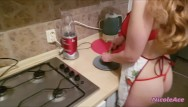 Cooking games hot sexy - Sexy blonde cooking and waiting for her horny man from work
